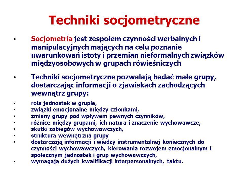 Techniki socjometryczne Socjometria jest zespołem czynności werbalnych i manipulacyjnych mających na celu poznanie uwarunkowań istoty i przemian niefo