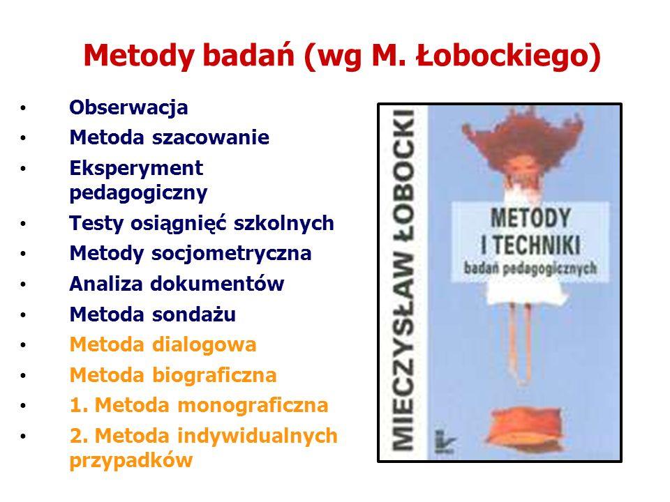 Metody badań (wg M. Łobockiego) Obserwacja Metoda szacowanie Eksperyment pedagogiczny Testy osiągnięć szkolnych Metody socjometryczna Analiza dokument