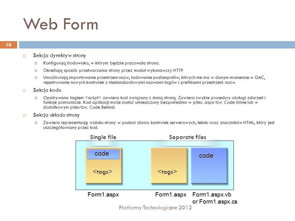 Web Form Platformy Technologiczne 2012 10 Sekcja dyrektyw strony Konfigurują środowisko, w którym będzie pracowała strona. Określają sposób przetwarza