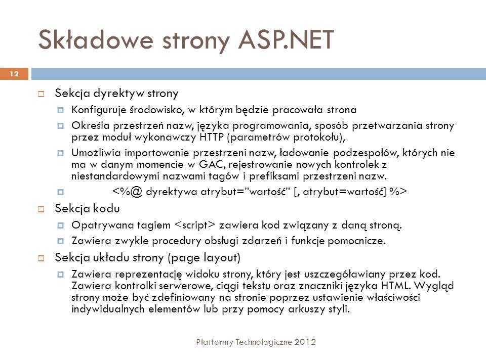 Składowe strony ASP.NET Platformy Technologiczne 2012 12 Sekcja dyrektyw strony Konfiguruje środowisko, w którym będzie pracowała strona Określa przes