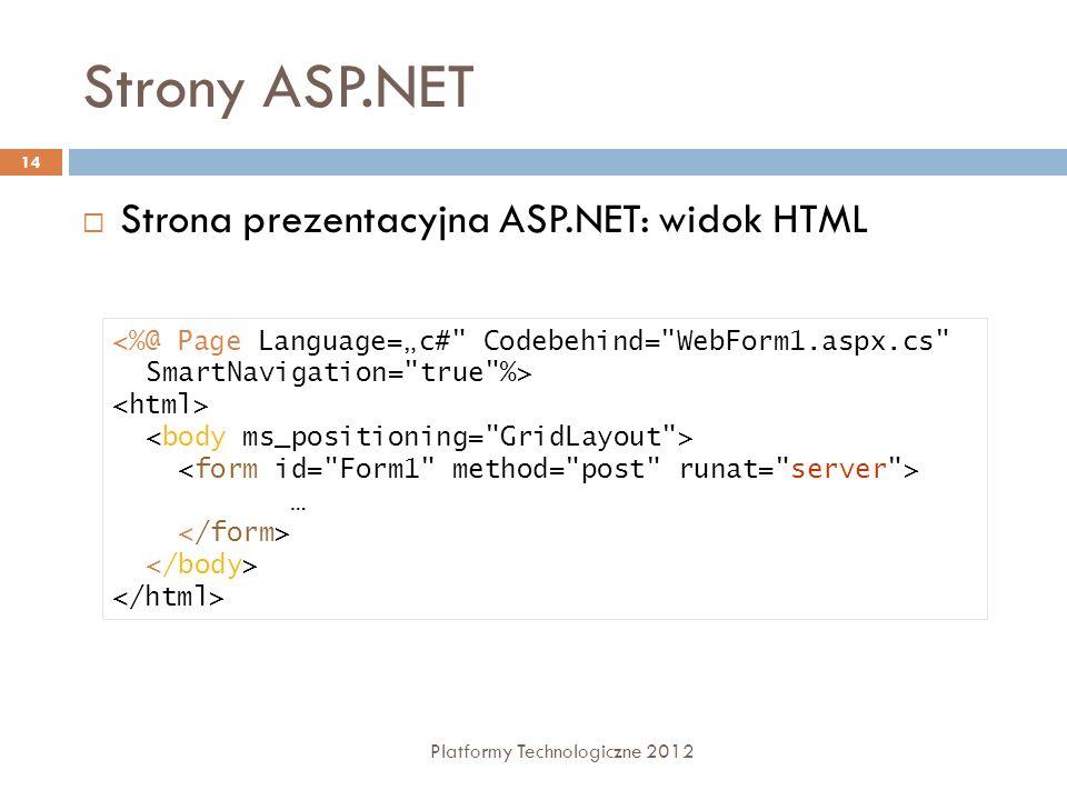 Strony ASP.NET Platformy Technologiczne 2012 14 Strona prezentacyjna ASP.NET: widok HTML …
