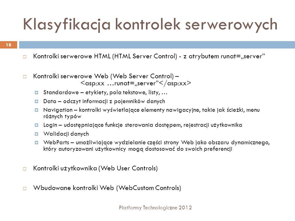 Klasyfikacja kontrolek serwerowych Platformy Technologiczne 2012 18 Kontrolki serwerowe HTML (HTML Server Control) - z atrybutem runat=server Kontrolk