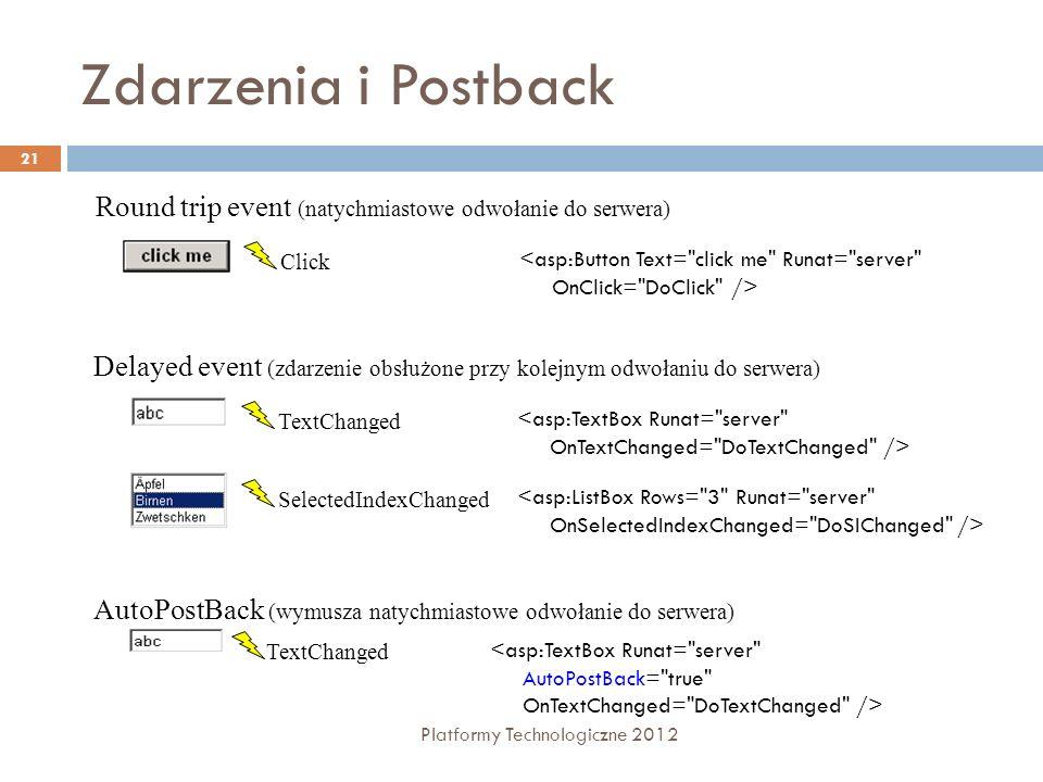 Zdarzenia i Postback Platformy Technologiczne 2012 21 Round trip event (natychmiastowe odwołanie do serwera) Click <asp:Button Text=