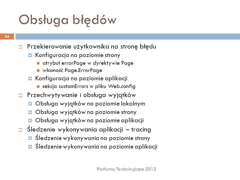 Obsługa błędów Platformy Technologiczne 2012 24 Przekierowanie użytkownika na stronę błędu Konfiguracja na poziomie strony atrybut errorPage w dyrekty