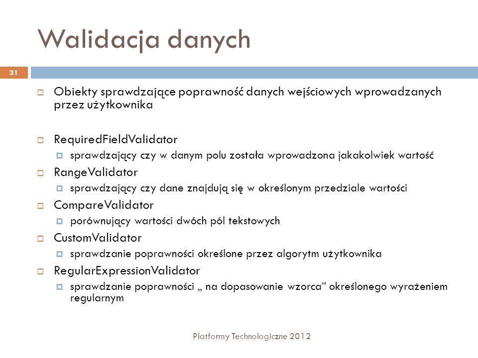 Walidacja danych Platformy Technologiczne 2012 31 Obiekty sprawdzające poprawność danych wejściowych wprowadzanych przez użytkownika RequiredFieldVali