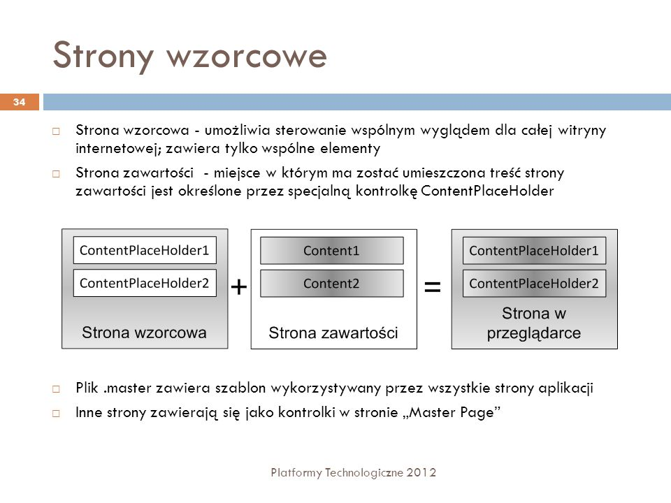 Strony wzorcowe Platformy Technologiczne 2012 34 Strona wzorcowa - umożliwia sterowanie wspólnym wyglądem dla całej witryny internetowej; zawiera tylk