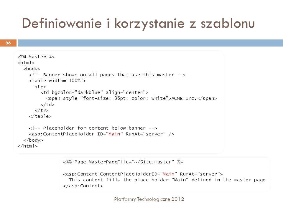 Definiowanie i korzystanie z szablonu Platformy Technologiczne 2012 36 ACME Inc. This content fills the place holder