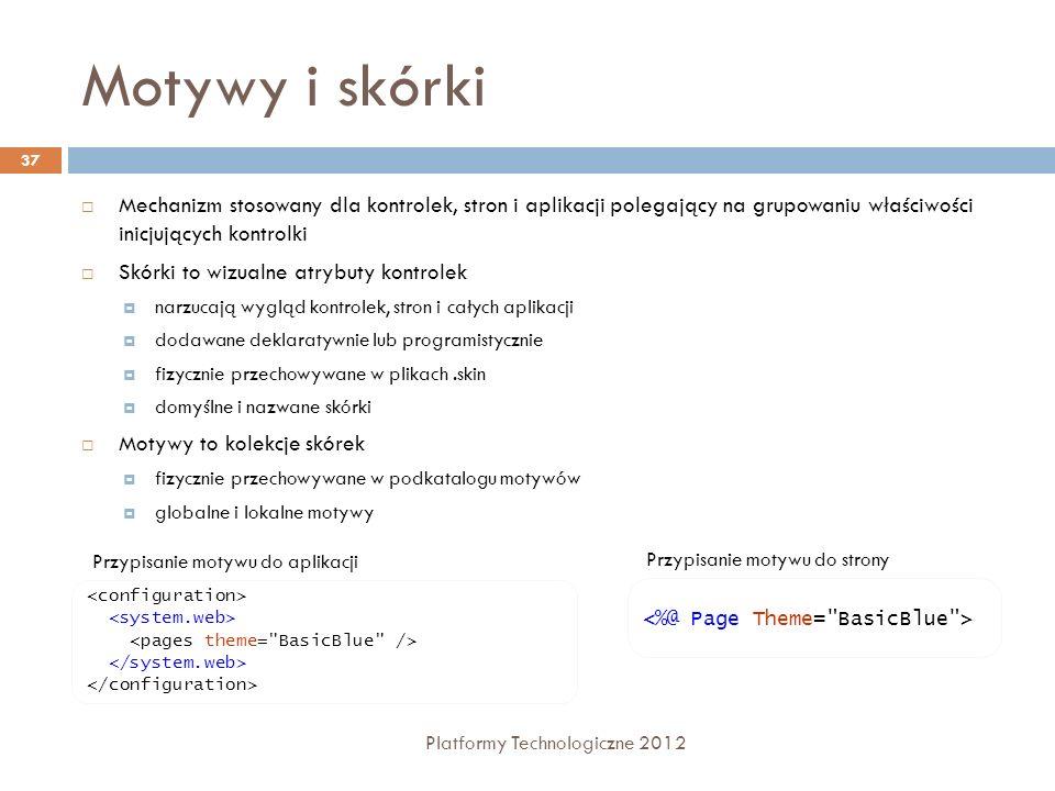 Motywy i skórki Platformy Technologiczne 2012 37 Mechanizm stosowany dla kontrolek, stron i aplikacji polegający na grupowaniu właściwości inicjującyc