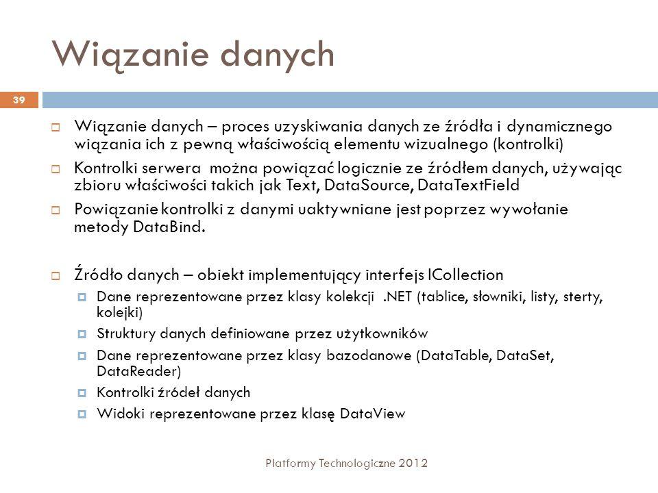 Wiązanie danych Platformy Technologiczne 2012 39 Wiązanie danych – proces uzyskiwania danych ze źródła i dynamicznego wiązania ich z pewną właściwości