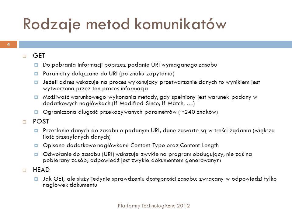 Rodzaje metod komunikatów Platformy Technologiczne 2012 4 GET Do pobrania informacji poprzez podanie URI wymaganego zasobu Parametry dołączane do URI