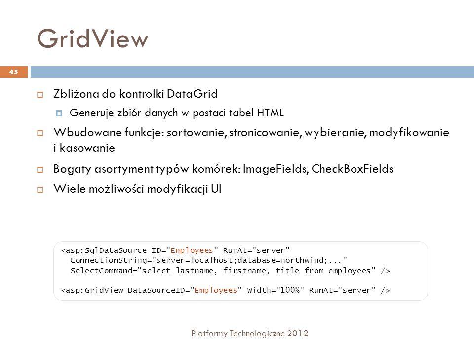 GridView Platformy Technologiczne 2012 45 Zbliżona do kontrolki DataGrid Generuje zbiór danych w postaci tabel HTML Wbudowane funkcje: sortowanie, str