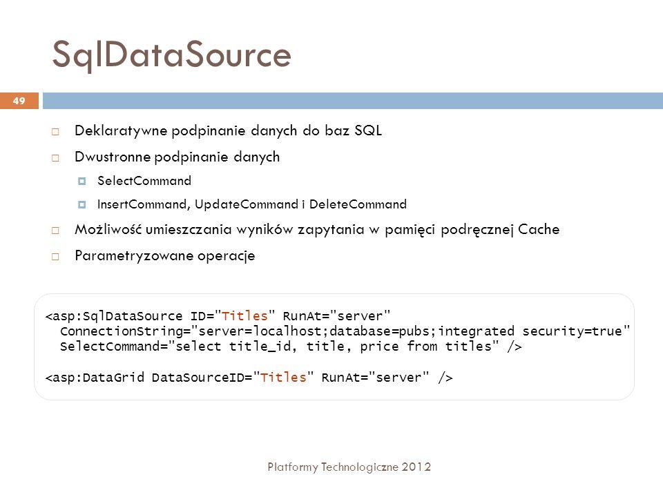SqlDataSource Platformy Technologiczne 2012 49 Deklaratywne podpinanie danych do baz SQL Dwustronne podpinanie danych SelectCommand InsertCommand, Upd