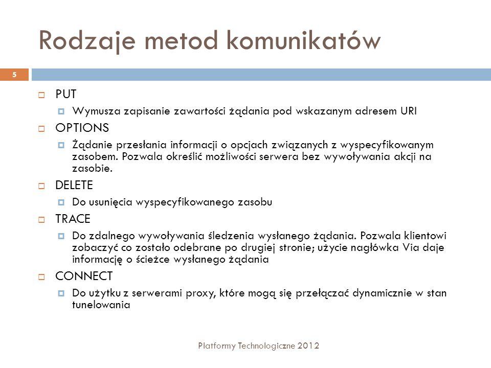 Rodzaje metod komunikatów Platformy Technologiczne 2012 5 PUT Wymusza zapisanie zawartości żądania pod wskazanym adresem URI OPTIONS Żądanie przesłani