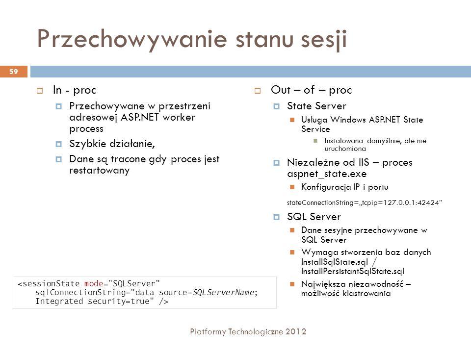 Przechowywanie stanu sesji In - proc Przechowywane w przestrzeni adresowej ASP.NET worker process Szybkie działanie, Dane są tracone gdy proces jest r