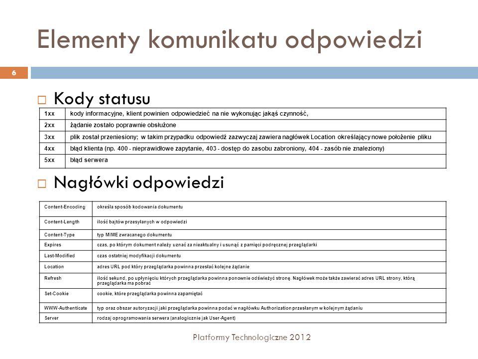 Elementy komunikatu odpowiedzi Platformy Technologiczne 2012 6 Kody statusu Nagłówki odpowiedzi 1xxkody informacyjne, klient powinien odpowiedzieć na