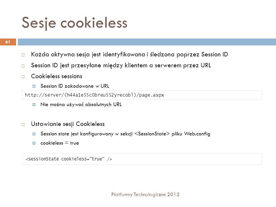 Sesje cookieless Platformy Technologiczne 2012 61 Każda aktywna sesja jest identyfikowana i śledzona poprzez Session ID Session ID jest przesyłane mię