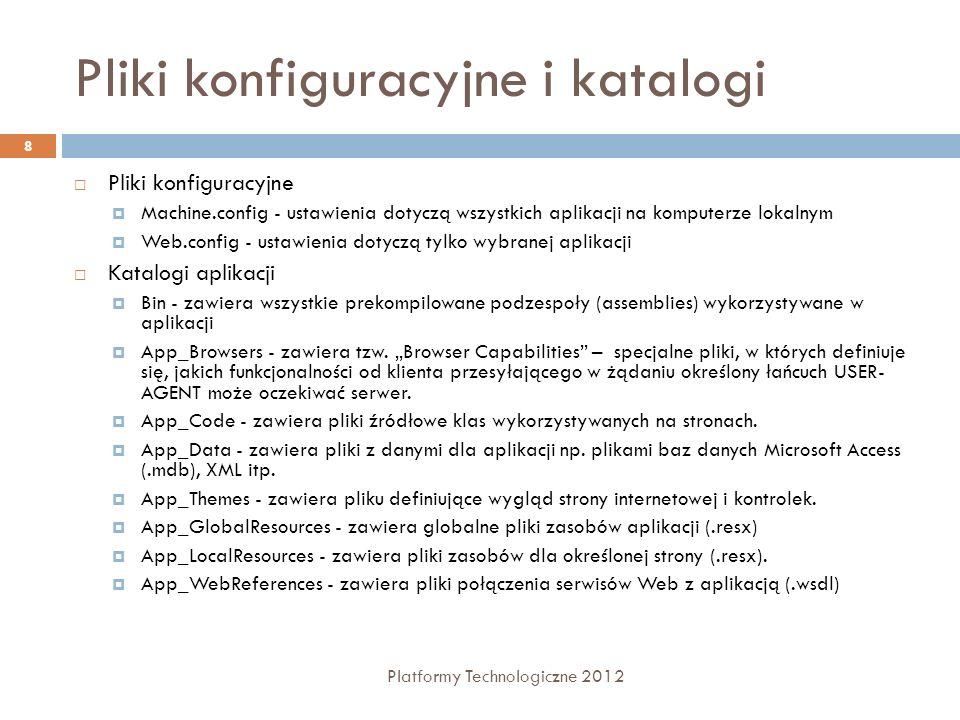 Pliki konfiguracyjne i katalogi Platformy Technologiczne 2012 8 Pliki konfiguracyjne Machine.config - ustawienia dotyczą wszystkich aplikacji na kompu