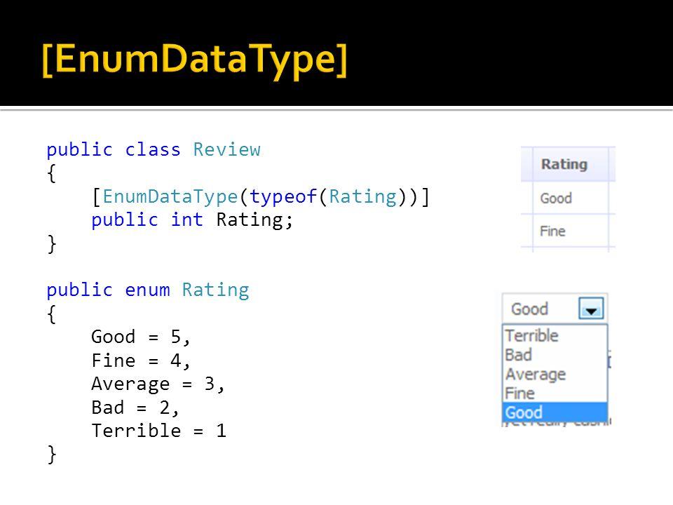 public class Review { [EnumDataType(typeof(Rating))] public int Rating; } public enum Rating { Good = 5, Fine = 4, Average = 3, Bad = 2, Terrible = 1 }