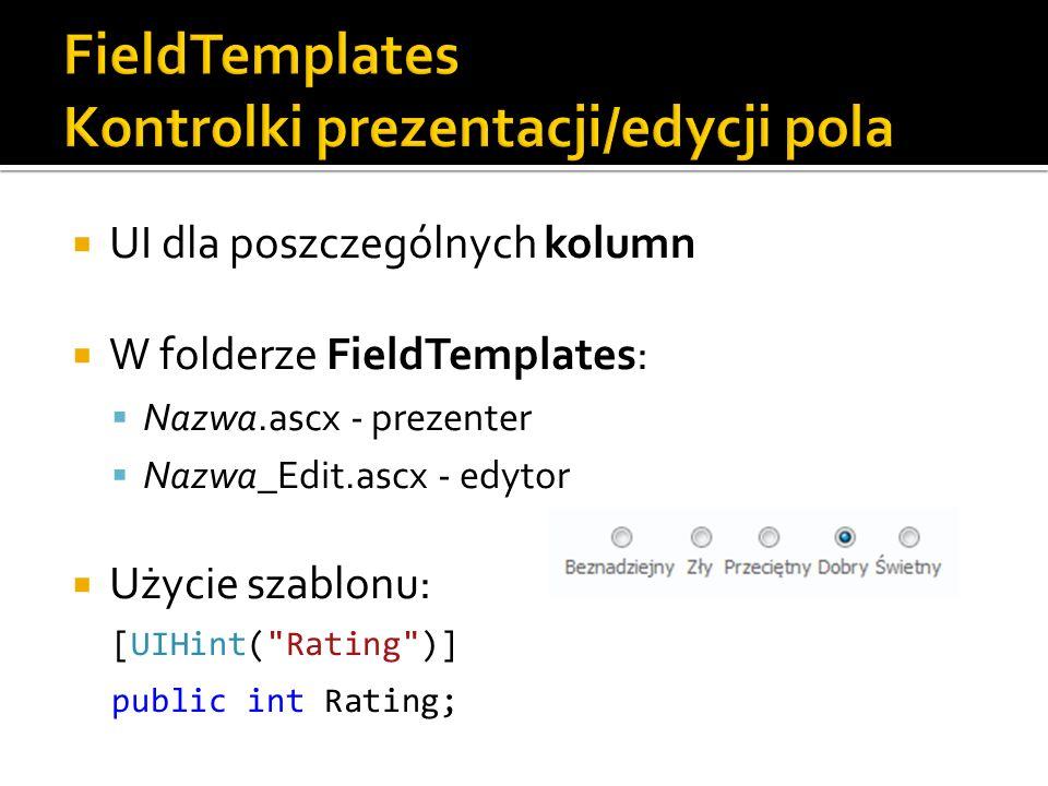 UI dla poszczególnych kolumn W folderze FieldTemplates: Nazwa.ascx - prezenter Nazwa_Edit.ascx - edytor Użycie szablonu: [UIHint( Rating )] public int Rating;