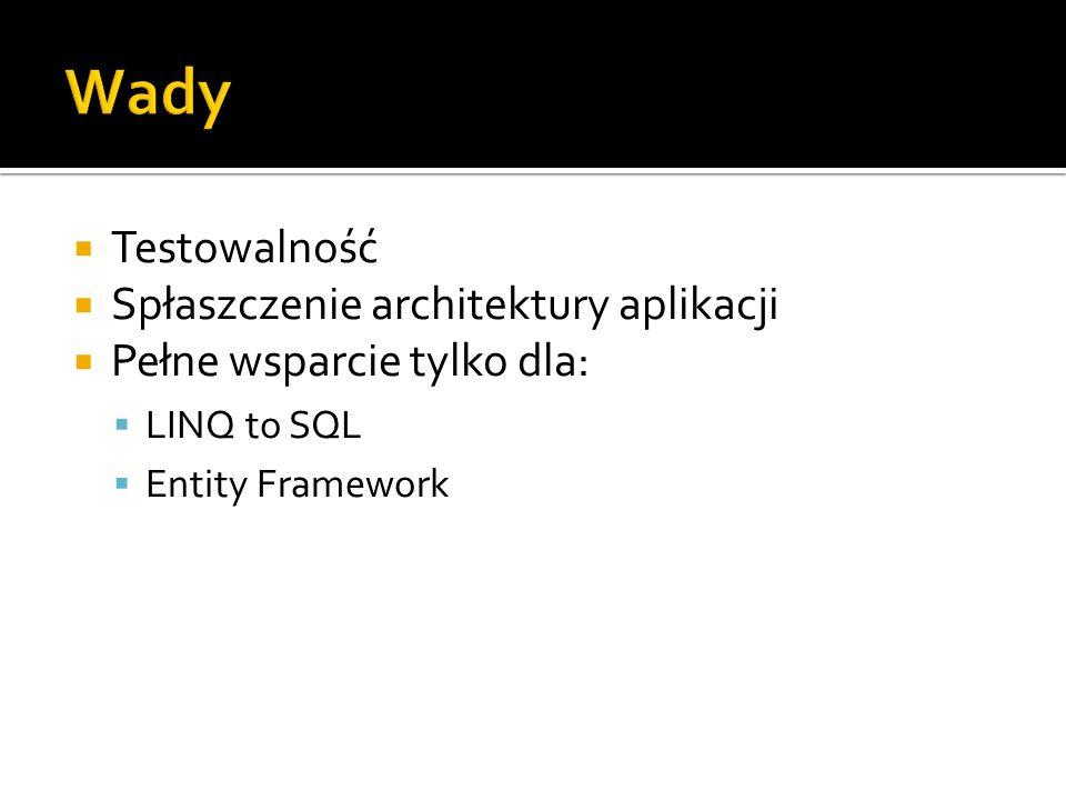 Testowalność Spłaszczenie architektury aplikacji Pełne wsparcie tylko dla: LINQ to SQL Entity Framework
