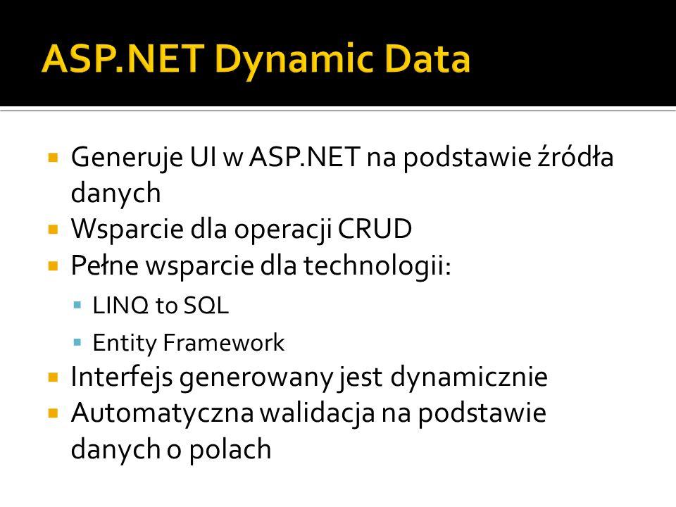 Generuje UI w ASP.NET na podstawie źródła danych Wsparcie dla operacji CRUD Pełne wsparcie dla technologii: LINQ to SQL Entity Framework Interfejs generowany jest dynamicznie Automatyczna walidacja na podstawie danych o polach