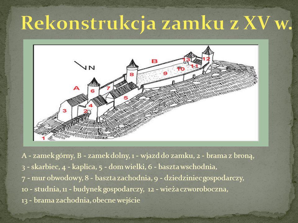 A - zamek górny, B - zamek dolny, 1 - wjazd do zamku, 2 - brama z broną, 3 - skarbiec, 4 - kaplica, 5 - dom wielki, 6 - baszta wschodnia, 7 - mur obwo