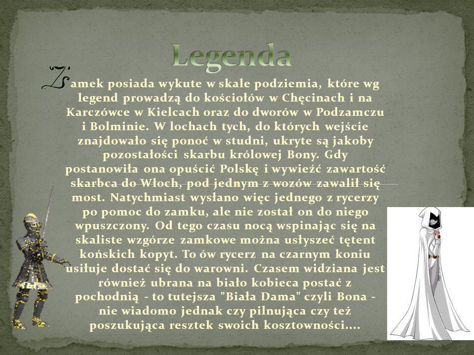 amek posiada wykute w skale podziemia, które wg legend prowadzą do kościołów w Chęcinach i na Karczówce w Kielcach oraz do dworów w Podzamczu i Bolmin