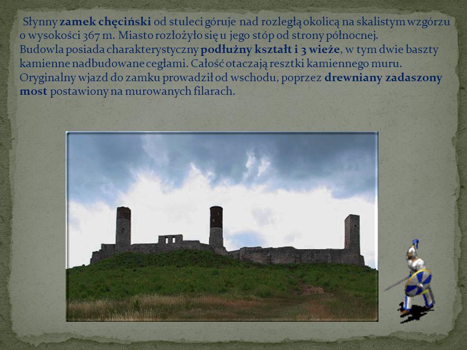 Słynny zamek chęciński od stuleci góruje nad rozległą okolicą na skalistym wzgórzu o wysokości 367 m. Miasto rozłożyło się u jego stóp od strony półno