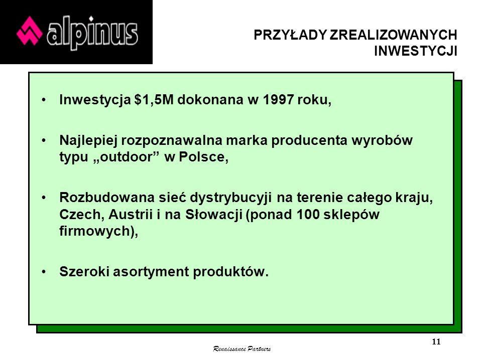 Renaissance Partners 11 Inwestycja $1,5M dokonana w 1997 roku, Najlepiej rozpoznawalna marka producenta wyrobów typu outdoor w Polsce, Rozbudowana sie
