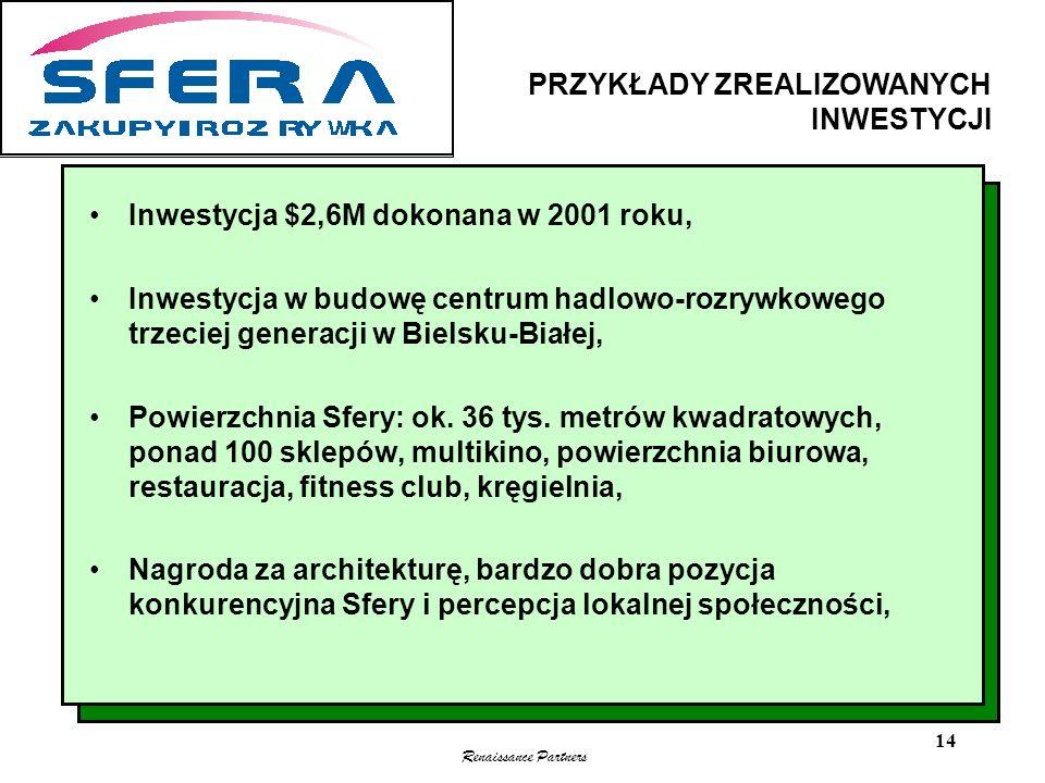 Renaissance Partners 14 Inwestycja $2,6M dokonana w 2001 roku, Inwestycja w budowę centrum hadlowo-rozrywkowego trzeciej generacji w Bielsku-Białej, P