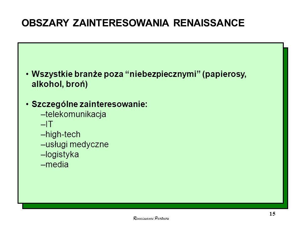 Renaissance Partners 15 OBSZARY ZAINTERESOWANIA RENAISSANCE Wszystkie branże poza niebezpiecznymi (papierosy, alkohol, broń) Szczególne zainteresowani