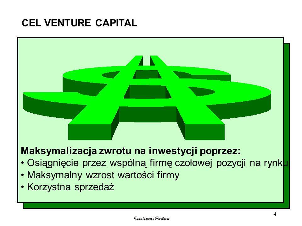 Renaissance Partners 4 Maksymalizacja zwrotu na inwestycji poprzez: Osiągnięcie przez wspólną firmę czołowej pozycji na rynku Maksymalny wzrost wartoś