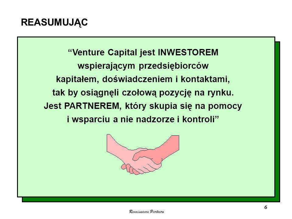 Renaissance Partners 6 REASUMUJĄC Venture Capital jest INWESTOREM wspierającym przedsiębiorców kapitałem, doświadczeniem i kontaktami, tak by osiągnęl