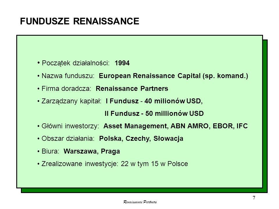 Renaissance Partners 7 FUNDUSZE RENAISSANCE Początek działalności: 1994 Nazwa funduszu: European Renaissance Capital (sp. komand.) Firma doradcza: Ren
