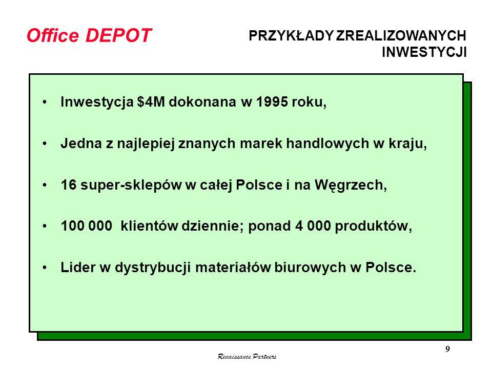 Renaissance Partners 9 Inwestycja $4M dokonana w 1995 roku, Jedna z najlepiej znanych marek handlowych w kraju, 16 super-sklepów w całej Polsce i na W