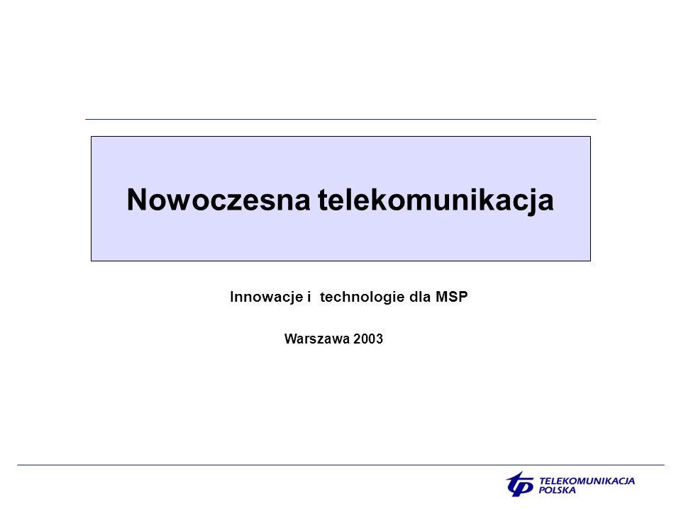 2 Agenda Unia Europejska dla MSP Korzyści Obawy i zagrożenia eEUROPA Sytuacja MSP w przededniu wejścia do UE Szansa dla MSP Oferta Grupy Kapitałowej TP szansą MSP Stały dostęp do internetu Komutowany dostęp do internetu Stały dostęp do internetu DSL TP Możliwości wykorzystania internetu Witryny internetowe przydatne dla przedsiębiorców Telekonferencja audio i wideo Monitoring miast Contact Center Grupa biznesowa TP net