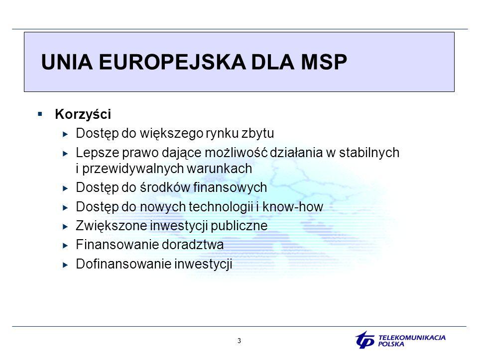 4 UNIA EUROPEJSKA DLA MSP Obawy i zagrożenia Wzrost konkurencji Niekontrolowany import Subsydiowanie konkurentów Zmiany w przepisach Wzrost bezrobocia