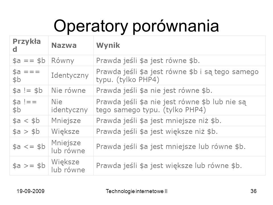 19-09-2009Technologie internetowe II36 Operatory porównania Przykła d NazwaWynik $a == $bRównyPrawda jeśli $a jest równe $b. $a === $b Identyczny Praw