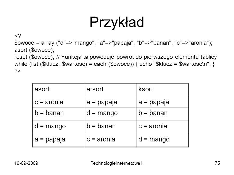 19-09-2009Technologie internetowe II75 Przykład <? $owoce = array (