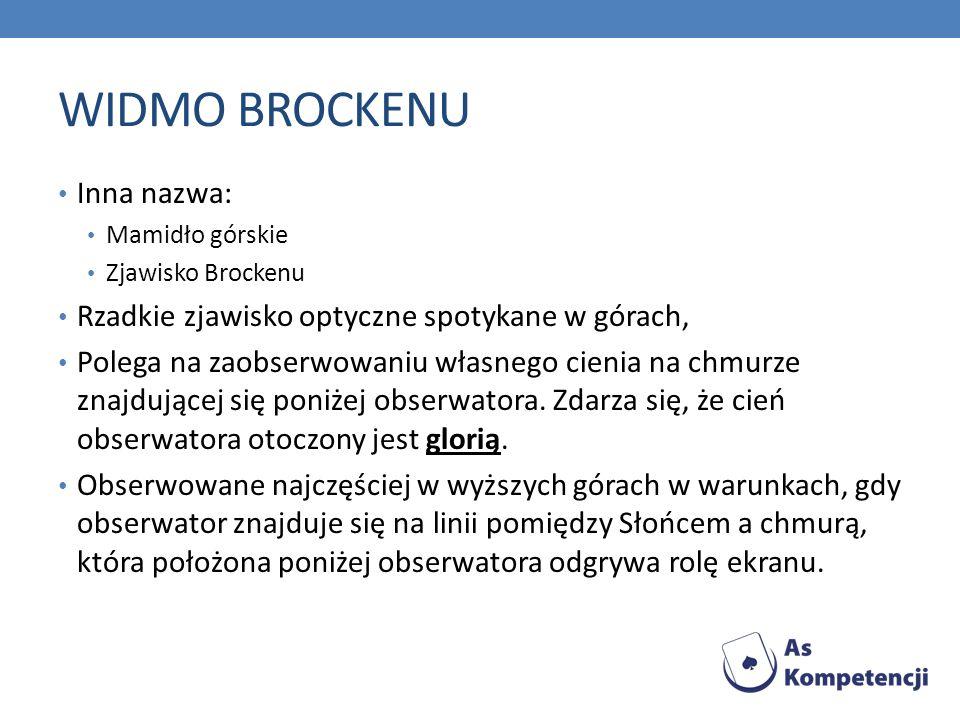 WIDMO BROCKENU Inna nazwa: Mamidło górskie Zjawisko Brockenu Rzadkie zjawisko optyczne spotykane w górach, Polega na zaobserwowaniu własnego cienia na