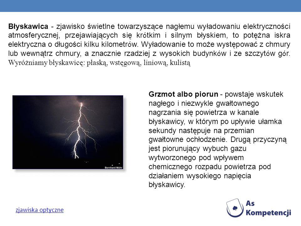 Błyskawica - zjawisko świetlne towarzyszące nagłemu wyładowaniu elektryczności atmosferycznej, przejawiających się kr ó tkim i silnym błyskiem, to pot