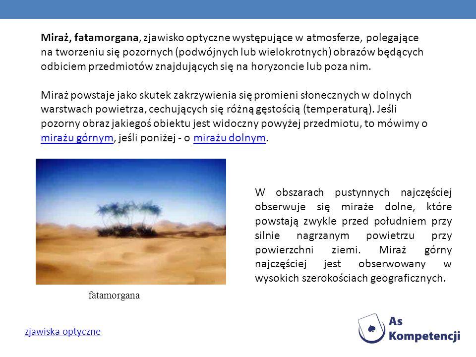 Miraż, fatamorgana, zjawisko optyczne występujące w atmosferze, polegające na tworzeniu się pozornych (podwójnych lub wielokrotnych) obrazów będących