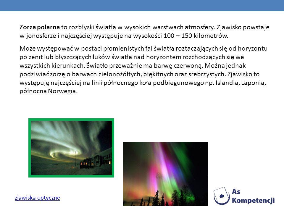 Zorza polarna to rozbłyski światła w wysokich warstwach atmosfery. Zjawisko powstaje w jonosferze i najczęściej występuje na wysokości 100 – 150 kilom
