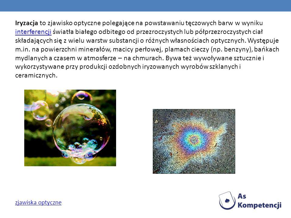 Iryzacja to zjawisko optyczne polegające na powstawaniu tęczowych barw w wyniku interferencji światła białego odbitego od przezroczystych lub półprzez