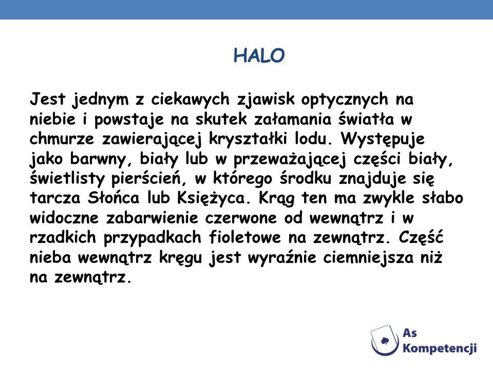 HALO Jest jednym z ciekawych zjawisk optycznych na niebie i powstaje na skutek załamania światła w chmurze zawierającej kryształki lodu. Występuje jak