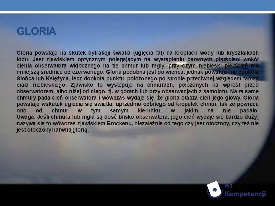 ZJAWISKO (WIDMO) BROCKENU Zjawisko powstające w większości przypadków w górach.