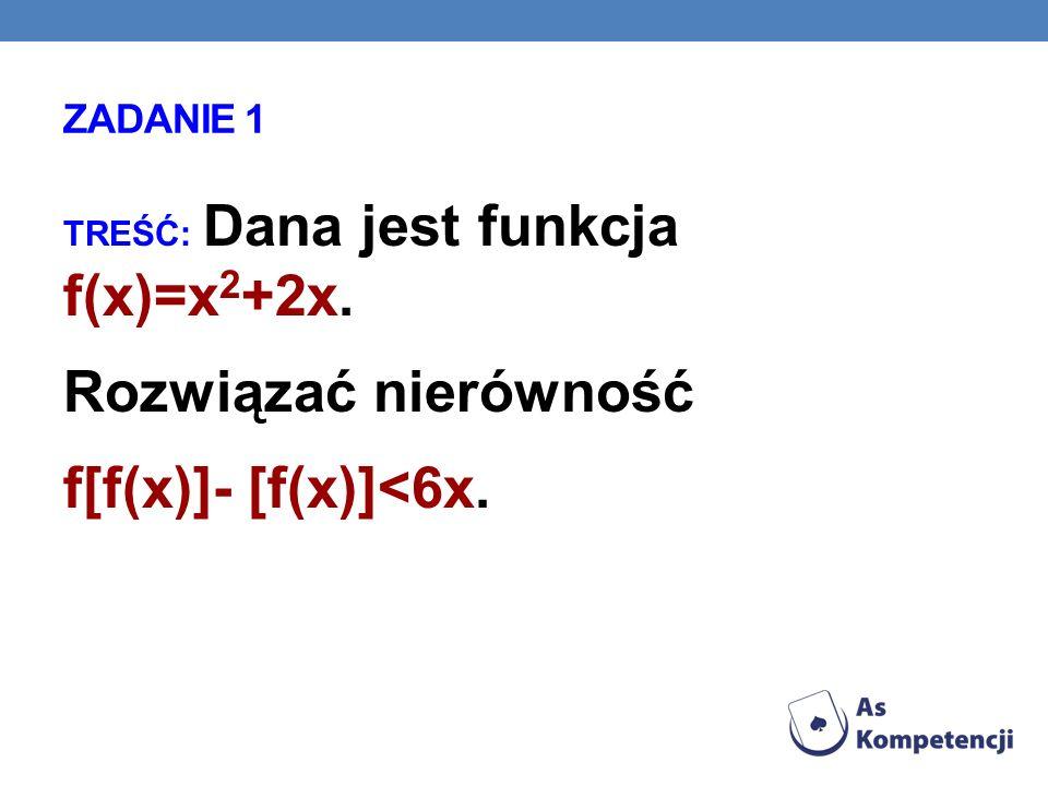 ZADANIE 1 TREŚĆ: Dana jest funkcja f(x)=x 2 +2x. Rozwiązać nierówność f[f(x)]- [f(x)]<6x.