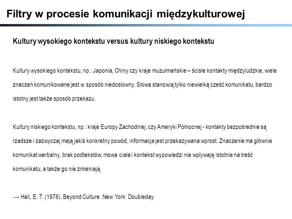 Filtry w procesie komunikacji międzykulturowej Kultury wysokiego kontekstu versus kultury niskiego kontekstu Kultury wysokiego kontekstu, np.: Japonia