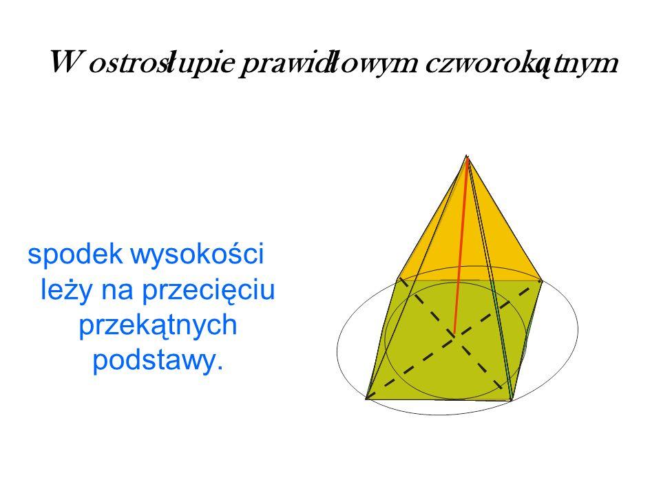 W ostros ł upie prawid ł owym czworok ą tnym spodek wysokości leży na przecięciu przekątnych podstawy.