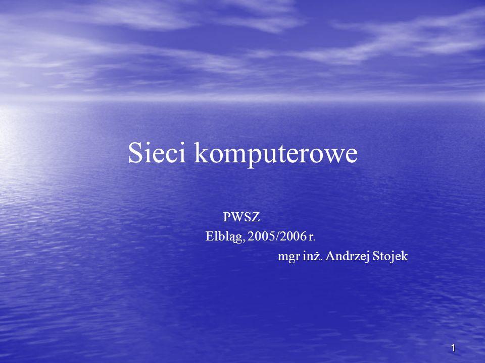 1 Sieci komputerowe PWSZ Elbląg, 2005/2006 r. mgr inż. Andrzej Stojek
